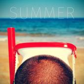 Man with a diving mask and the word summer — Stock Photo