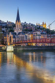 Vertical view of Lyon with Saone river — Foto de Stock