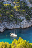 Calanques of Port Pin with boat — Stock Photo