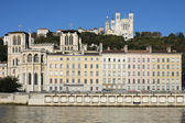 Lyon with basilica, cathedral and Saone river — Stock Photo