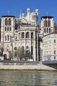 Saint Jean cathedrale and Notre Dame de Fourviere basilica — Stock Photo