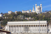 View of Lyon with cathedrale and courthouse — Stock Photo