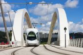 Tram on the bridge — Stock Photo