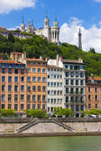 Lyon cityscape from Saone river — Stock Photo