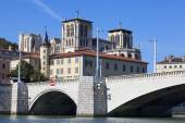 View of Lyon and bridge — Stock Photo