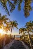 View of passage to the beach at sunrise — Stock Photo