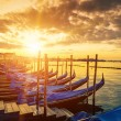 Panoramic view of Venice with gondolas at sunrise — Stock Photo #57245491