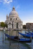 Gondolas and Basilica di Santa Maria della Salute — Stock Photo