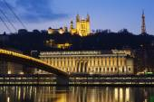 Famous view of Saone river at Lyon by night — Stock Photo