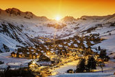 View of Saint Jean d'Arves at sunset — Stock Photo