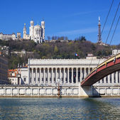 View of Lyon with basilica and courthouse — Stock Photo