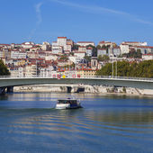 View on Lyon and Saone riverwith boat — Stock Photo