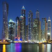 Dubai Marina captured in the dusk. — Stock Photo