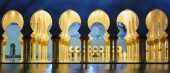 Panoramic mosque at night — Stock Photo