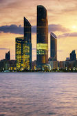 View of Abu Dhabi Skyline at sunset — Stock Photo