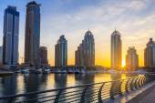 View of Skyscrapers in Dubai Marina at sunrise — Stock Photo
