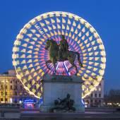 Place Bellecour statue of King Louis XIV, Lyon — Stock Photo