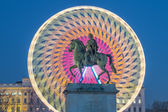 Place Bellecour statue of King Louis XIV by night — Stock Photo