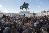 LYON, FRANCE - JANUARY 11, 2015: Anti terrorism protest. 14 — Stock Photo