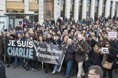 LYON, FRANCE - JANUARY 11, 2015: Anti terrorism protest. 4 — Stock Photo