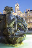 Vertical view of Bartholdi Fountain in Lyon by night — Stock Photo