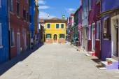 Beautiful street in Burano — Stock Photo