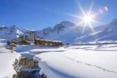 Tignes village with sun — Stock Photo
