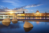 View from Rhone river in Lyon city at sunset — Stock Photo