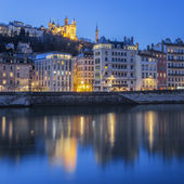 Lyon with Saone river by night — Stock Photo