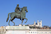 View of statue and Basilica in Lyon — Stock Photo