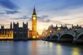 Big Ben clock tower in London at sunset — Stock Photo