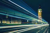 Big Ben and lights of the cars passing by — Stock Photo