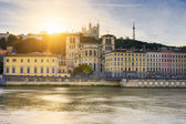 Saone river at sunset — Stock Photo