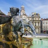 Famous Bartholdi Fountain in Lyon — Stock Photo