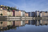 Saone river and reflection — Stock Photo