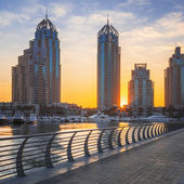 Dubai marina at sunrise — Stock Photo