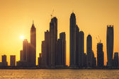 View of Dubai with sun — Stock Photo
