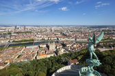 View of Lyon from the top of Notre Dame de Fourviere — Stock Photo