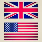 Retro look UK and USA flag vignetted illustration — Stock Photo