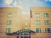 Retro look USA embassy — Stock Photo