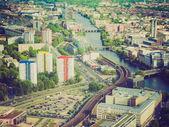 Retro look Berlin aerial view — Stockfoto