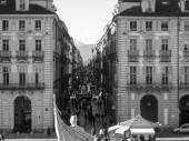 Black and white Piazza Castello Turin — Stock Photo