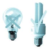 Traditional vs Fluorescent Light bulb — Stock Photo