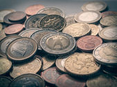 Retro-look-euro-münzen — Stockfoto