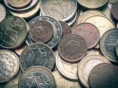 Monedas de euro de aspecto retro — Foto de Stock