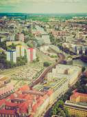 Retro look Berlin aerial view — Stock Photo