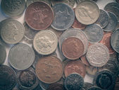 Retro look Pound coins — Stockfoto