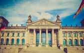 Retro look Reichstag Berlin — Stock Photo