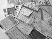 Black and white Public transport tickets — Stock Photo