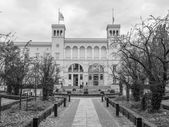 Black and white Hamburger Bahnhof in Berlin — Stock Photo